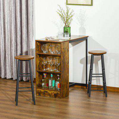 HOMCOM 3 Piece Industrial Style Bar Table Set, Pub Dining Table Set Height Table and 2 Stools with Storage Shelf for Kitchen, Living Room, Coffe Shop