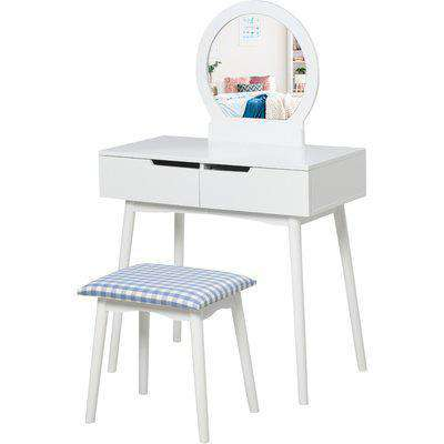 HOMCOM 2 Piece Modern Vanity Table Set, Makeup Table with Padded Stool, 2 Large Drawers, Round Mirror, White