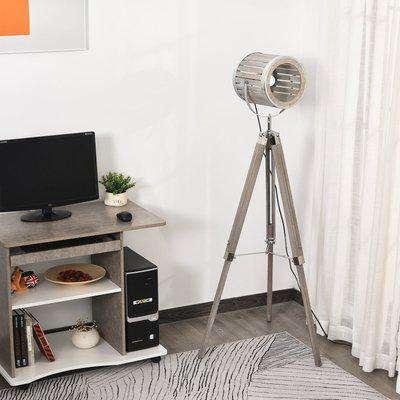 HOMCOM Pine Wood Tripod Floor Lamp Standing Lamp 110-150H x 63W x 63Dcm Brown and Silver