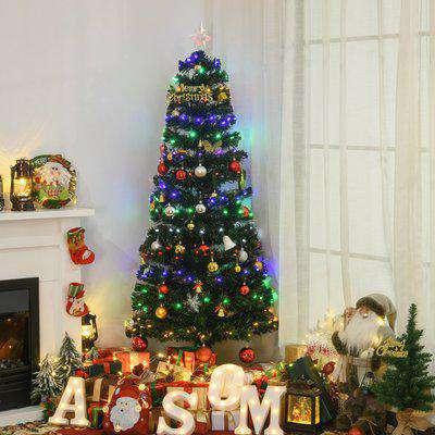HOMCOM 6ft Pre-Lit Fiber Optic Christmas Tree W/ Star Tree Topper, Solid Metal Base, 220 Branch Tips, 6 Color LED Lights Decoration