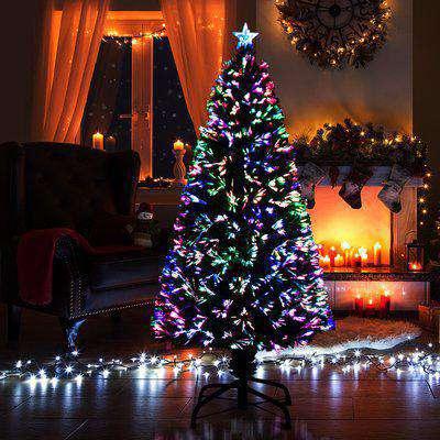HOMCOM Pre-Lit Fibre Optic Artificial Christmas Tree Holiday Xmas Décor with Tree Topper Multi-Colour (5ft 150cm)