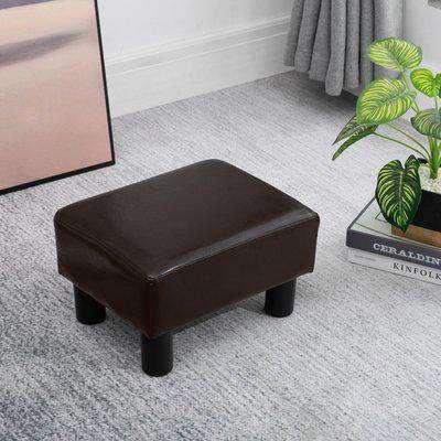 HOMCOM PU Faux Leather Footstool Ottoman Cube w/ 4 Plastic Legs Black