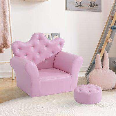 HOMCOM PU Leather Kids Set:1 x Armchair, 1x Stool-Pink