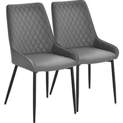 HOMCOM PU Leather Set Of 2 Quilted PU Leather Dining Chairs w/Metal Frame 4 Legs Foot Caps Home Seating Modern Stylish Executive Dark Grey