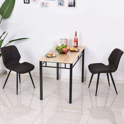 HOMCOM PU Leather Upholstered Set-of-2 Moulded Dining Chairs Brown