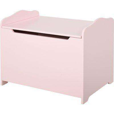 HOMCOM Qaba Kids Wooden Toy Box Storage Organizer Child's Chest with Safety Hinge for Toddlers Boys Girls Age 3 Years old + Pink