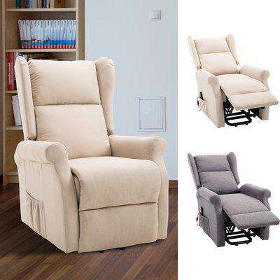 HOMCOM Recliner Lift Chair Stand Assist Electric Power w/ Remote Control Linen Fabric