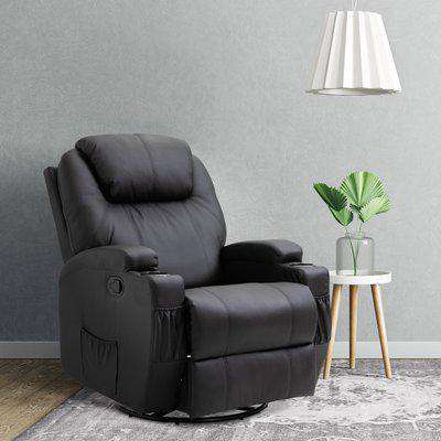 HOMCOM Recliner Sofa Chair PU Leather Armchair Cinema Massage Chair Swivel Nursing Gaming Chair Black