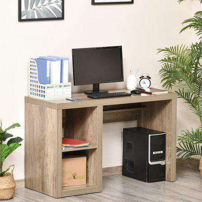 HOMCOM Rectangle Computer Desk Thick Board with Display Shelves Home Office Table Workstation, Natural Wood Color