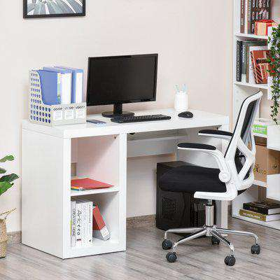 HOMCOM Rectangle Computer Desk Thick Board with Display Shelves Home Office Table Workstation, White