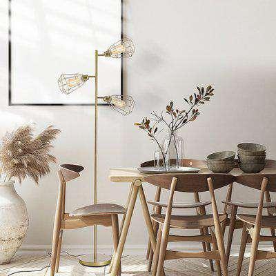 HOMCOM Retro Practical Tree Floor Lamp 3 Head Adjustable Lampshade Steel Base for Living Room Bedroom Office Gold