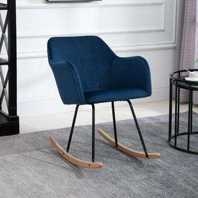 HOMCOM Rocking Armchair, Accent Lounge Chair with Wooden Legs, Solid Metal Frame for Living Room, Dining Room, Bedroom, Blue