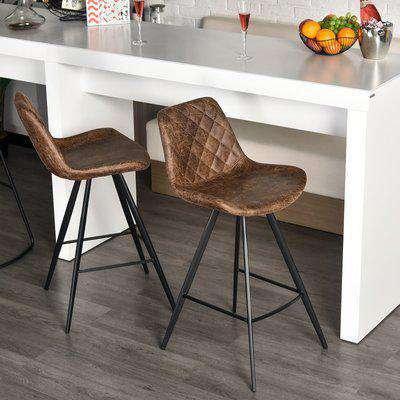 HOMCOM Set Of 2 Bar Stools Vintage PU Leather Tub Seats Padded Comfortable Steel Frame Footrest Quilted Bar Cafe Stylish Brown