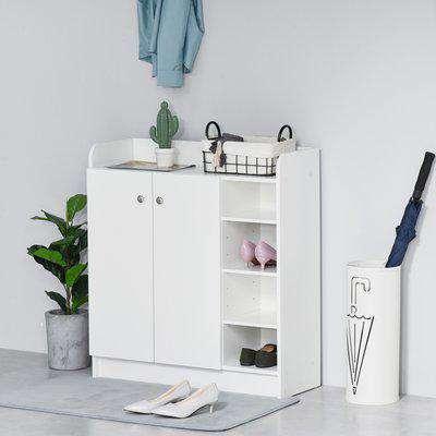 HOMCOM Shoe Storage Cabinet Home Hallway Furniture 2 Doors w/Adjustable 4 Shelves Cupboard Footwear Rack Stand Organiser White
