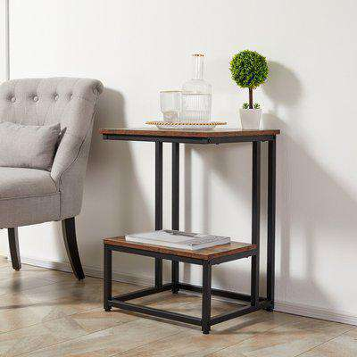 HOMCOM Side Table, Doule Layer End Table, Modern Coffee Table with Steel Frame and Adjustable Non-Slip Feet for Living room, Bedroom, Balcony, White