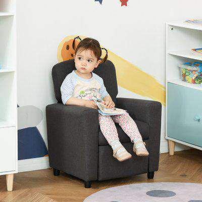 HOMCOM Single Seater Kids Sofa Chair with Footrest Recliner Upholstered Armchair for Children Playroom Bedroom Living room, Grey