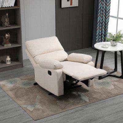 HOMCOM Single Sofa Chair Double-Padded Manual Recliner Armchair w/Footrest Metal Frame Adjustable Home Seat Bedroom Living Room TV Gaming Beige