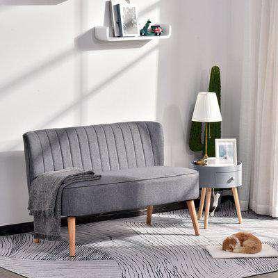 HOMCOM 2 Seater Sofa, Linen-Grey