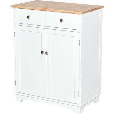 HOMCOM Multifunctional Space Saving Kitchen Island Storage Cabinet w/ Anti-fall Device, Adjustable Shelf for Kitchen, 68W x 40.3D x 85Hcm, White