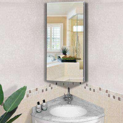 HOMCOM Stainless Steel Bathroom Corner Mirror Cabinet, 1 Door