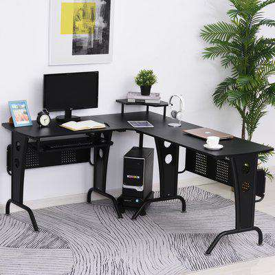 HOMCOM 86.5H x 170L x 140Wcm Steel MDF Top L-Shaped Corner Desk w/ Keyboard Tray - Black