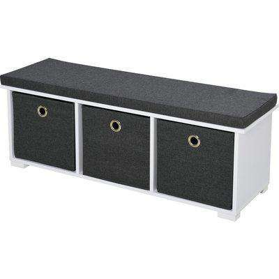 HOMCOM Storage Bench with 3 Drawers Shoe Bench Removable Seat Cushion E1 MDF