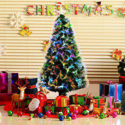 HOMCOM HOMCM 1.5m Tall Artificial Tree Fiber Optic Colorful LED Pre-Lit Holiday Home Christmas Decoration with Flash Mode, Green