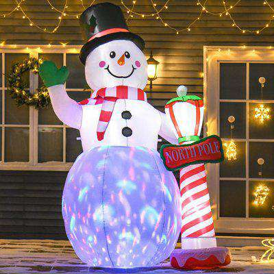 HOMCOM 2.4m Tall Christmas Inflatable Snowman with Street Lamp, Lighted for Home Indoor Outdoor Garden Lawn Decoration Party Prop