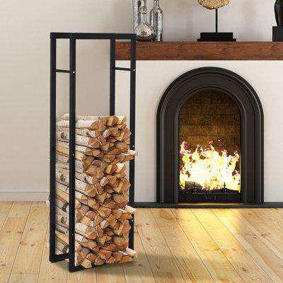 HOMCOM 150cm Tall Metal Firewood Log Holder Rack Double Tier w/ Balanced Base Side Rails Indoor Outdoor Traditional Fireplace Log Storage Cradle