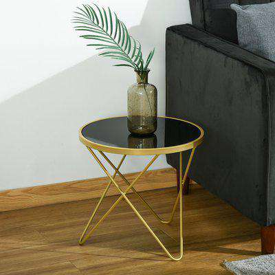 HOMCOM Tempered Glass Coffee Table Accent Side End Table with Golden Steel Legs for Living Room, Bedroom, No Assembly Required, 43cm x 43cm x 40cm
