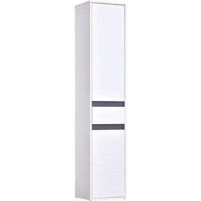 HOMCOM 172cm Thin Bathroom Storage Cabinet Freestanding Unit w/ 2 Cupboards 1 Drawer Adjustable Shelf Home Organisation Tower White