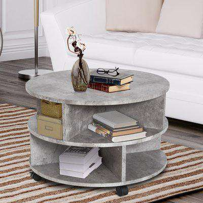 HOMCOM 2 Tier Round Side End Coffee Table Sector Divider Shelves Lamp Desk Storage Wheels