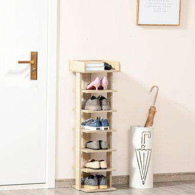 HOMCOM 7 Tier Shoe Rack Organizer Storage Shelf Wooden Display Cabinet for Entryway Living Room Bedroom Oak