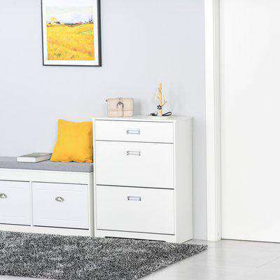 HOMCOM Tipping Shoe Cabinet Storage Rack Entryway Organizer with 2 Pull-Down Doors and Drawer Adjustable Shelf for Hallway Porch Narrow Space White