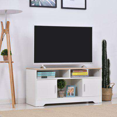 HOMCOM TV Stand for TVs up to 42 Inches with Cabinets, Shelves and Wide Tabletop for Living Room, Bedroom, Dining Room, White and Wood Color