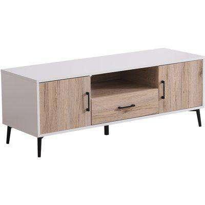 HOMCOM TV Stand, 120Lx40Wx44.5H cm-Oak/White Colour