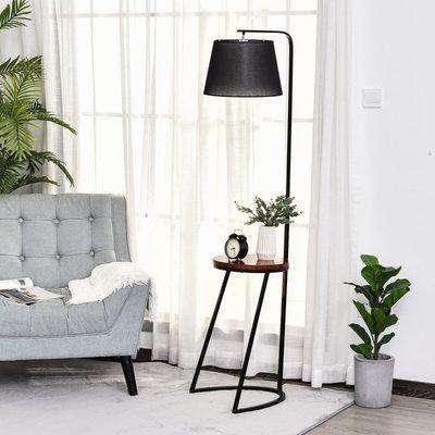 HOMCOM 165cm Unique Floor Lamp & Middle Wood Shelf Industrial Style Steel Frame Curved Base Home Office Lighting Storage Brown Black