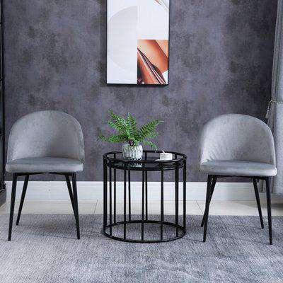 HOMCOM Velvet Contemporary Set Of 2 Kitchen Dining Chairs Grey