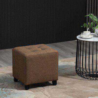 HOMCOM Vintage Ottoman Linen-Touch Fabric Upholstered Footstool Footrest Coffee Table, Brown