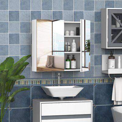 HOMCOM Wall Mounted Bathroom Mirror Storage Cabinet Cupboard with Adjustable Shelf Double Doors
