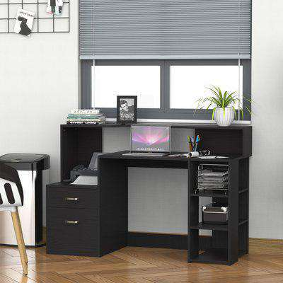 HOMCOM Wooden Computer Desk PC Table Modern Home Office Writing Workstation Furniture Printer Shelf Rack w/ Storage Drawer & Shelves (Black)