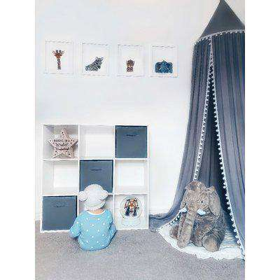 HOMCOM Wooden 9 Cube Storage Cabinet Unit 3 Tier Shelves Organiser Display Rack Living Room Bedroom Furniture - White