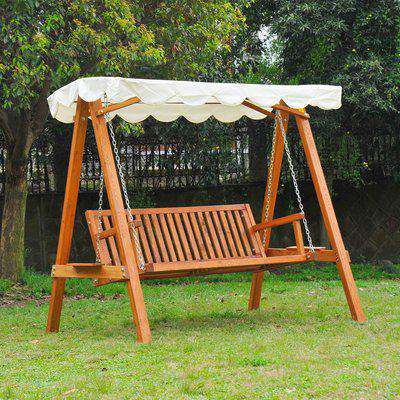 HOMCOM 3-Seater Wooden Garden Swing Chair Seat Bench-Cream