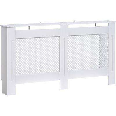 HOMCOM Wooden Radiator Cover Heating Cabinet Modern Home Furniture Grill Style White Painted (Large)