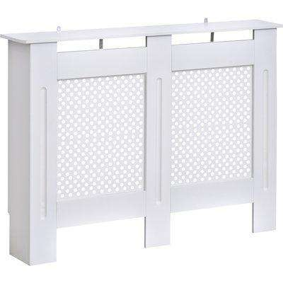 HOMCOM Wooden Radiator Cover Heating Cabinet Modern Home Furniture Grill Style Diamond Design White Painted (Medium)