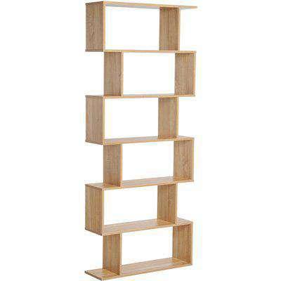 HOMCOM Wooden Wood S Shape Storage Display 6 Shelves Room Divider Unit Chest Bookshelf Bookcase Cupboard Cabinet Home Office Furniture (Oak)