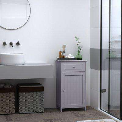 kleankin Bathroom Cabinet with Drawer and Shelf, Toilet Vanity Cabinet for Toilet Paper, Towels or Shampoo, Grey