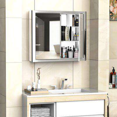 kleankin Bathroom Mirror Cabinet Wall Mounted Storage Cupboard with Double Door and Shelf, Stainless Steel, Silver