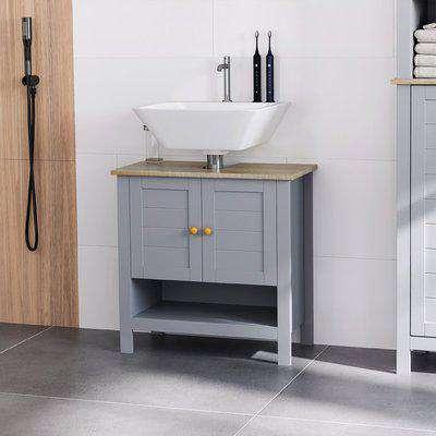 kleankin Bathroom Under Sink Cabinet, Bathroom Vanity Unit, Pedestal Under Sink Design, Storage Cupboard with Adjustable Shelf, Grey