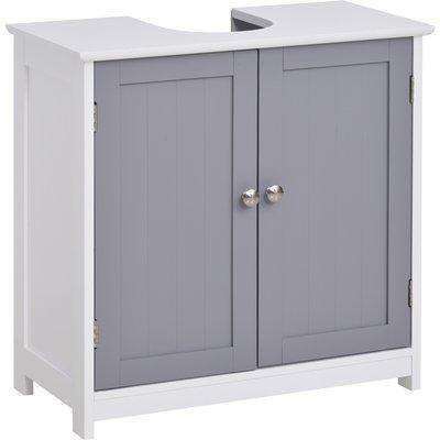 HOMCOM 60x60cm Under-Sink Storage Cabinet with Adjustable Shelf Bathroom Cabinet Space Saver Organizer Floor Cabinet White and Grey